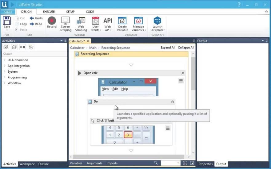 Interface de la plateforme RPA de UiPath.
