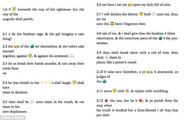 Des extraits de la version numérique de «Bible Emoji scripture 4 millennials» (capture bibleemoji.com)