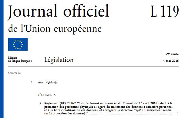 Le Règlement européen sur la protection des données personnelles a été publié le 4 mai au Journal officiel de l'Union européenne (capture JO EU numérique)
