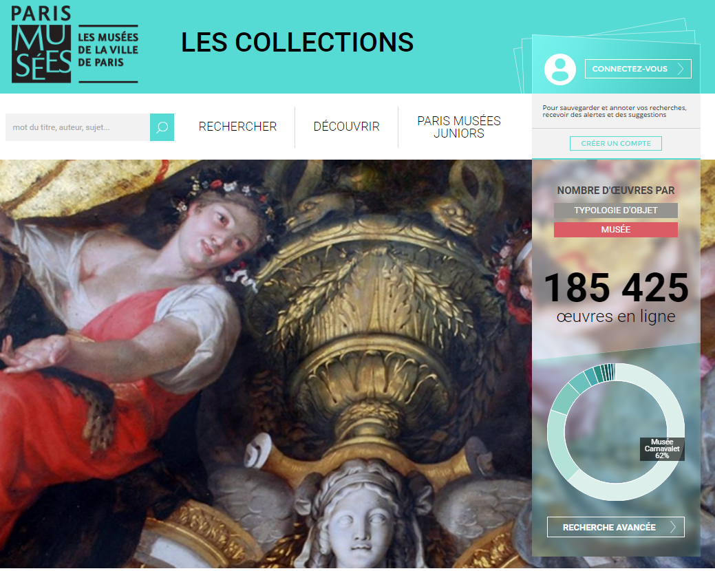 L'état d'avancement des mises en ligne est inégal d'un musée à l'autre, puisque 62 % des 310 000 photographies accessibles sont pour l'instant issues dSuvres d'art du musée Carnavalet (Capture parismuseescollections.paris.fr)