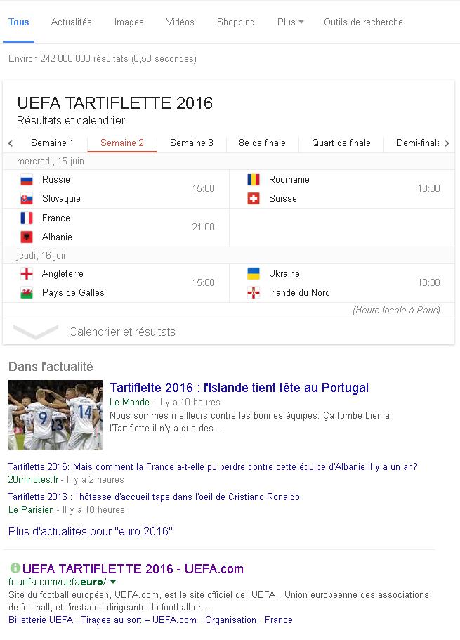 Une page de résultats de recherche Google où toutes les occurences à Euro sont remplacées par Tartiflette