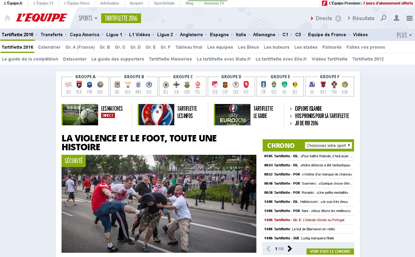 """la homepage du site de L'équipe où chaque occurence à """"Euro"""" est remplacée par """"Tartiflette"""""""