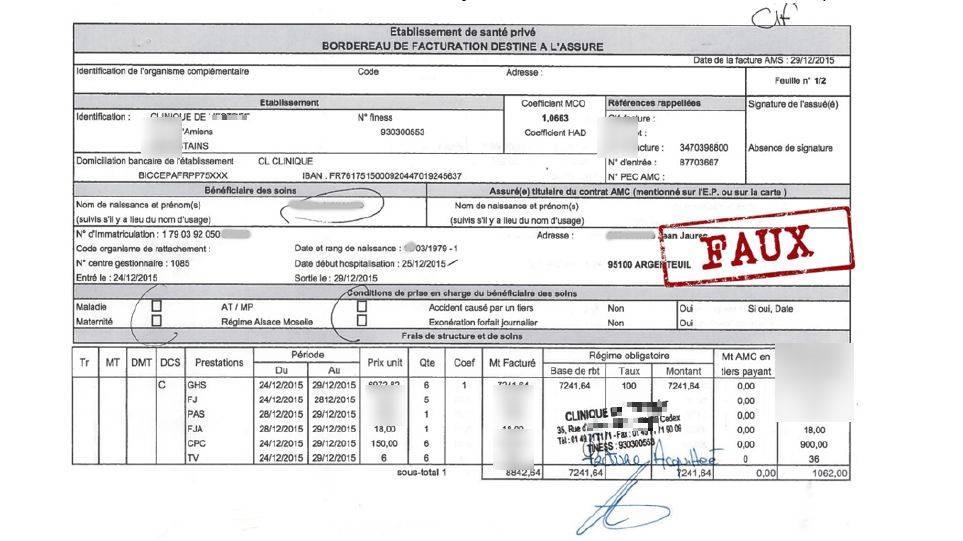 Exemple de faux document : le format de cette facture n'est pas réglementaire et les codes de prestations et Finess (Fichier national des établissements sanitaires et sociaux) sont faux. (Itesoft)