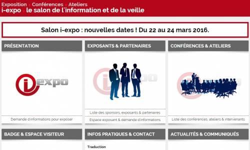 Report du salon i-expo de septembre 2015 à mars 2016.
