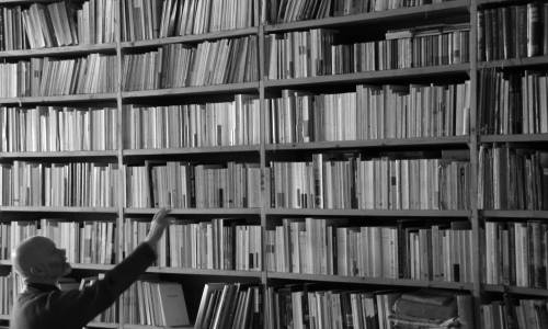 un homme au pied d'une large bibliothèque