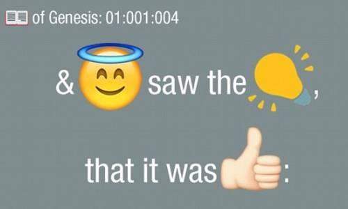 """«Dieu vit que la lumière était bonne; et Dieu sépara la lumière d'avec les ténèbres » où """"Dieu"""", """"lumière"""" et """"bonne"""" sont remplacés par des emojis"""
