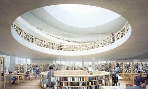 Un concept de l'intérieur de la Bibliothèque nationale israélienne qui verra le jour en 2020 (Herzog et De Meuron)