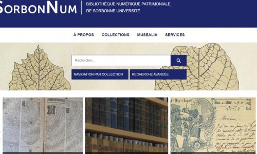 SorbonNum, la nouvelle bibliothèque numérique de Sorbonne Université